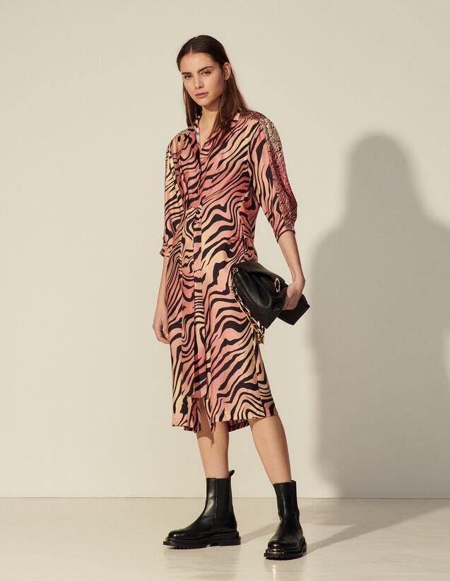 Long Printed Silk Dress : Dresses color Brick-Red