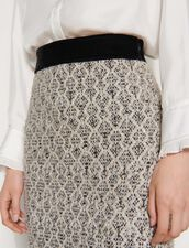 Short Jacquard Knit Skirt : Skirts & Shorts color Ecru / Black