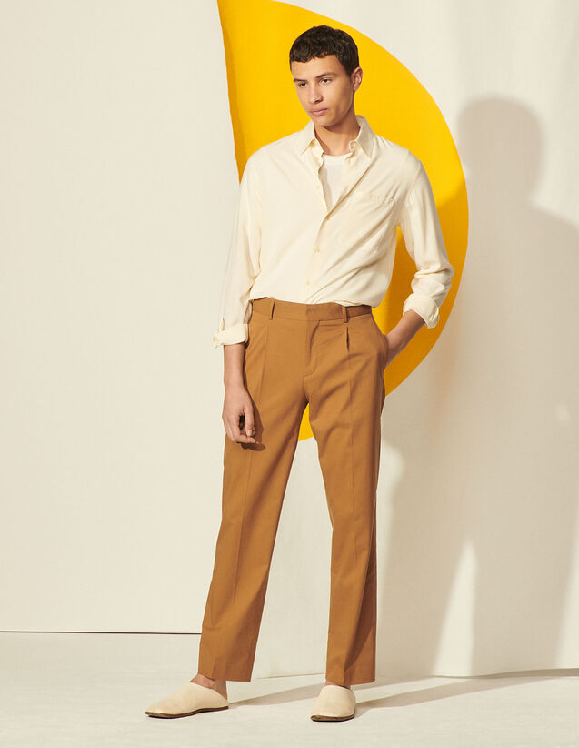Carrot-Cut Trousers : Pants & Shorts color Camel