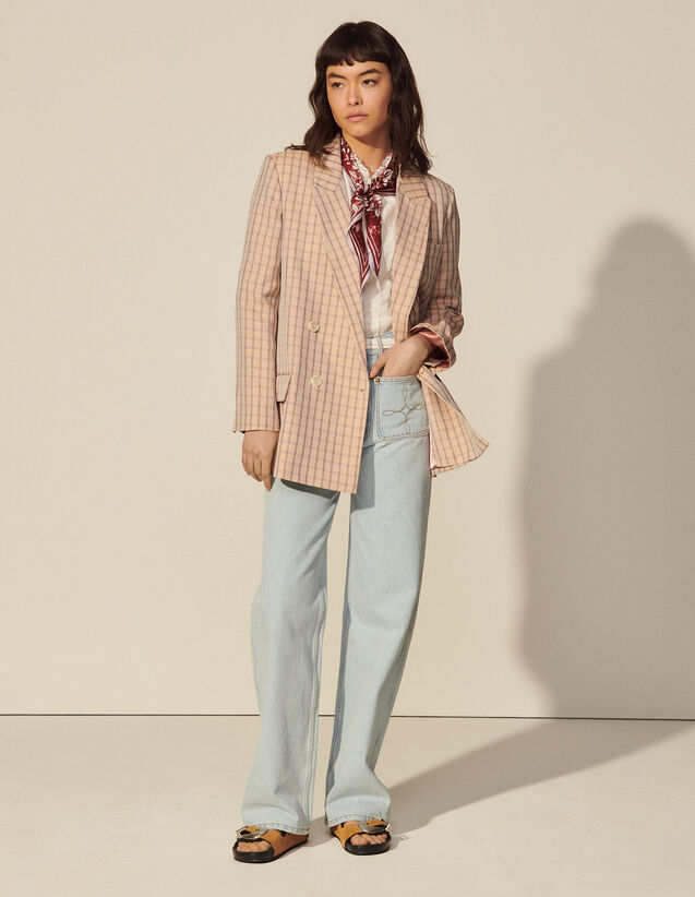 Lurex Check Tailored Jacket : Blazer & Jacket color Nude