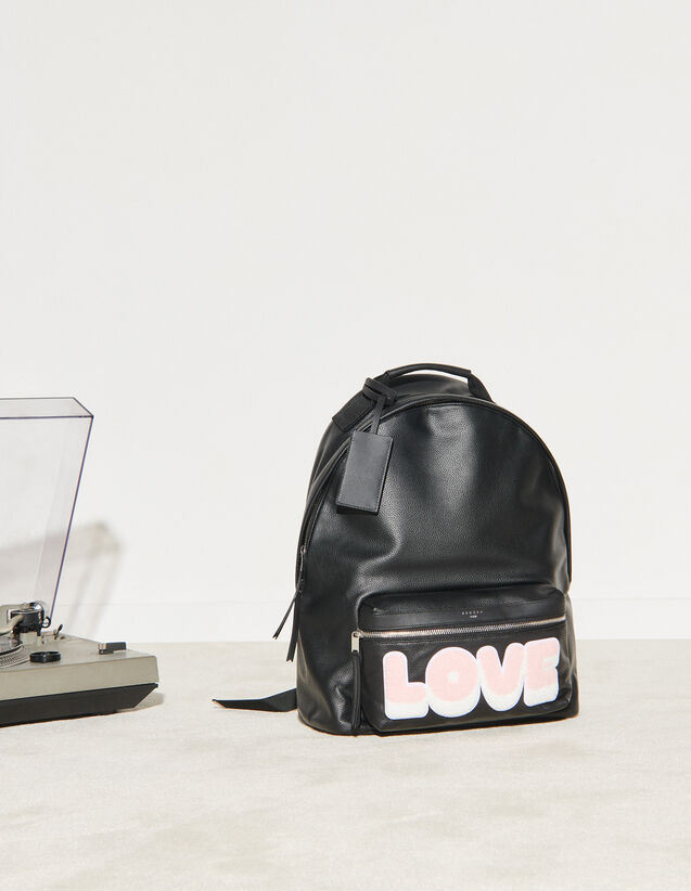 Backpack With Patch Lettering : Leather Goods color Black
