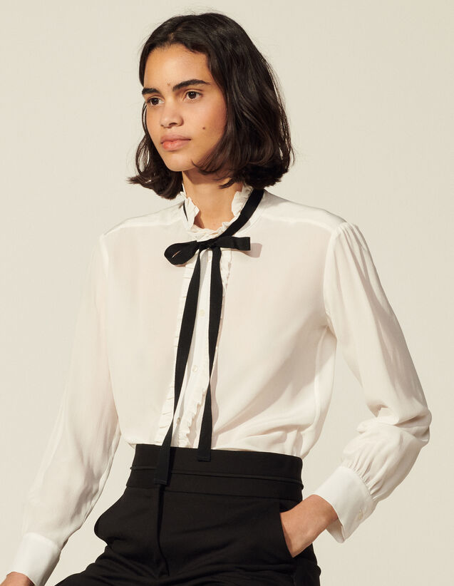 Silk Blouse With Ribbon : Shirts color Ecru