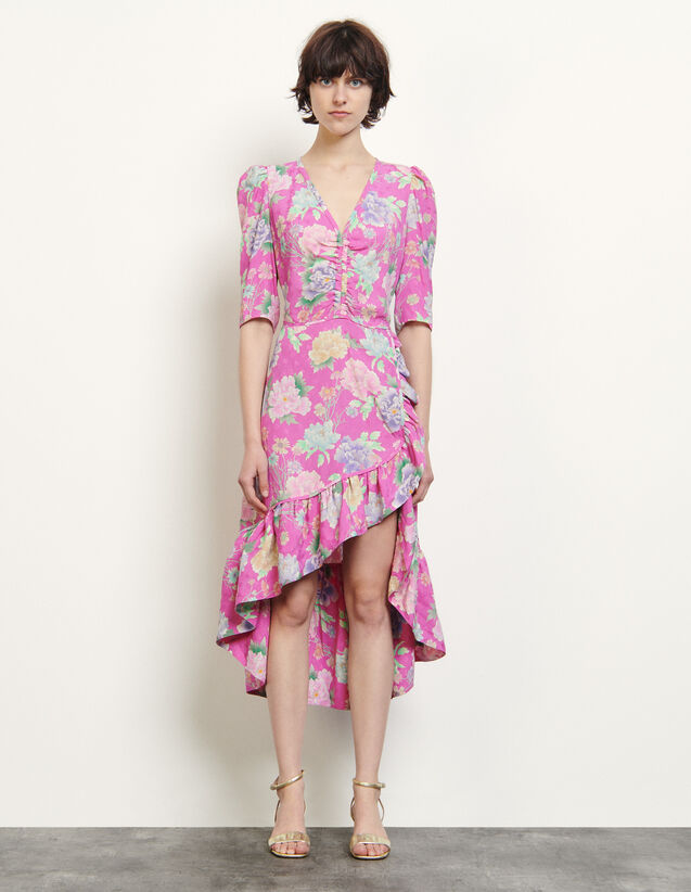 Long Asymmetric Jacquard Dress : Dresses color Pink