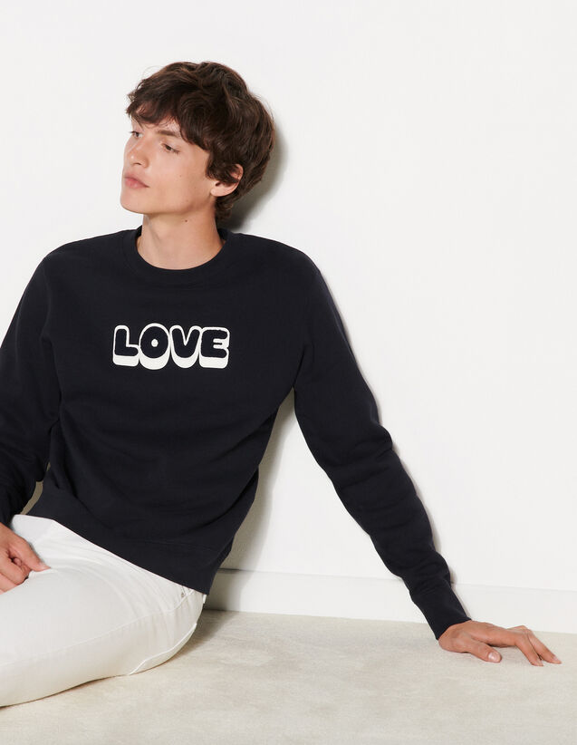 Sweatshirt With Embroidered Lettering : Sweatshirts color Navy Blue