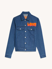 Denim Jacket With Patch : Trench coats & Coats color Blue Vintage - Denim