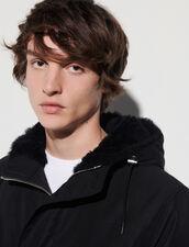 Mid-Length Parka With Sheepskin Hood : Trench coats & Coats color Black