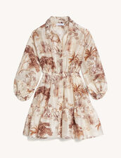 Printed Shirt Dress : Dresses color Ecru / Brown