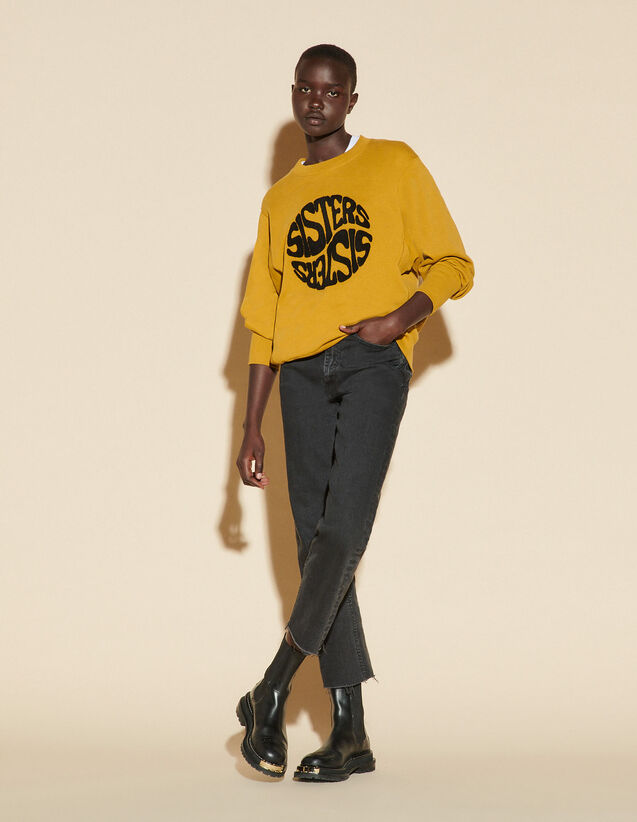 Sweatshirt With Embroidered Text : Sweaters & Cardigans color Bronze