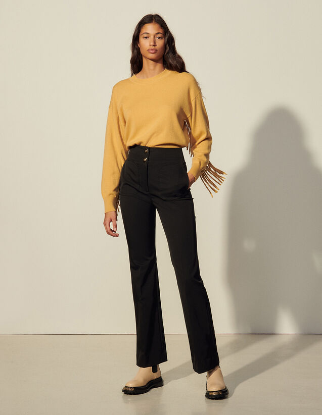 Flared Trousers : Pants color Black