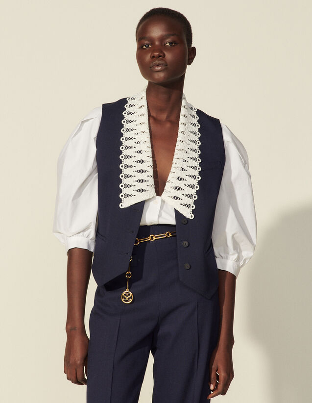 Viscose women's waistcoat : Blazer & Jacket color Navy Blue