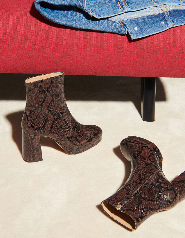 Python Print Leather Boots : -50% color Brown