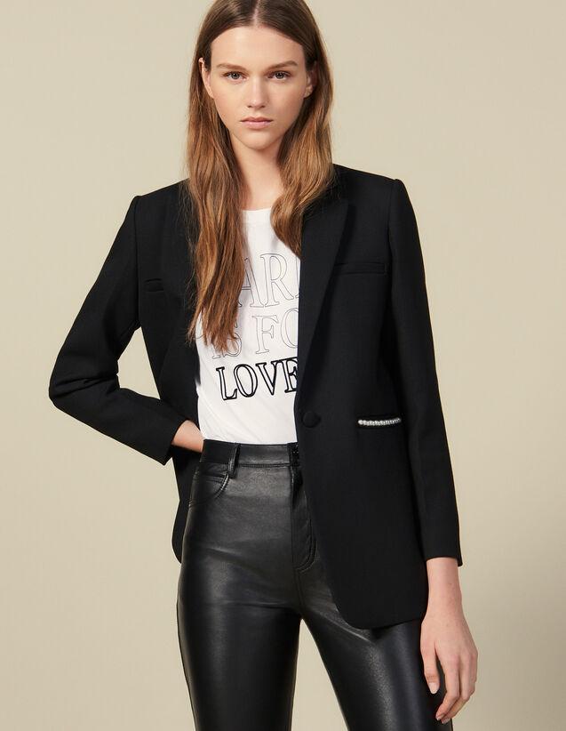 Blazer Jacket Embellished With Beads : Blazer & Jacket color Black
