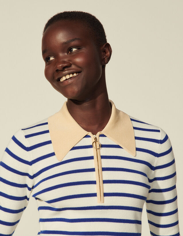 Sailor-Striped Wool Sweater : Sweaters & Cardigans color White / Navy