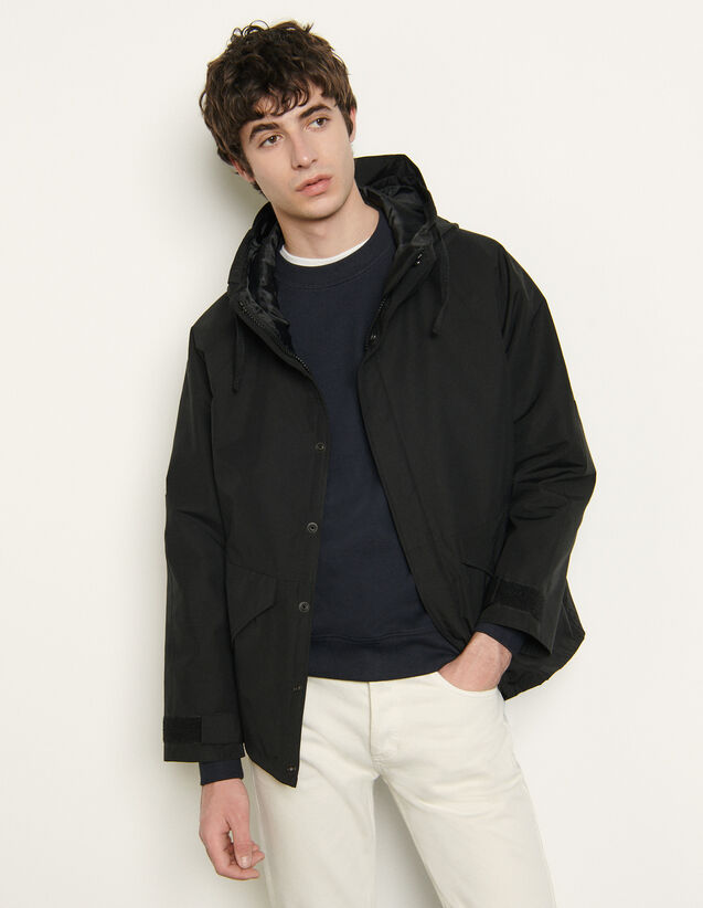 Parka In Technical Fabric : Trench coats & Coats color Black