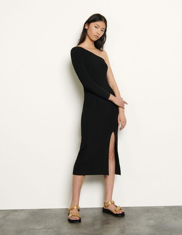 Asymmetric Knit Dress : Dresses color Black