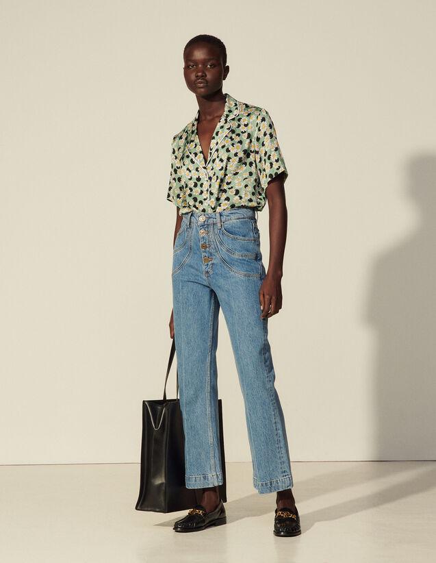 Cotton Jeans With Fancy Pockets : Jeans color Bleu Denim