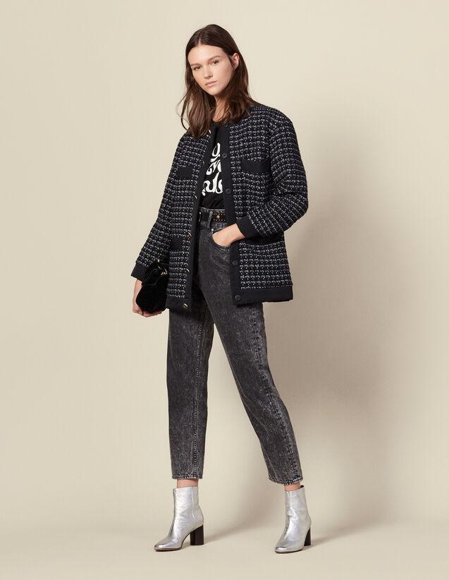 Oversized Quilted Tweed Jacket : Blazer & Jacket color Navy Blue