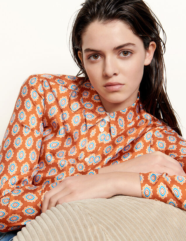 Classic Shirt In Printed Silk : Shirts color Rust
