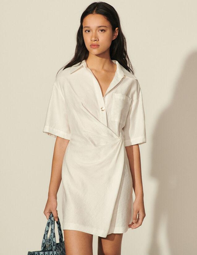 Short Draped Dress : Dresses color white