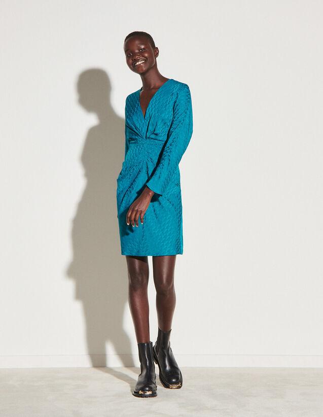 Short Dress In Double S Jacquard : Dresses color Pétrol Blue