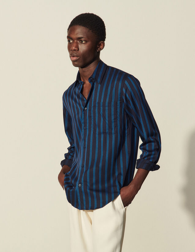 Flowing Shirt With Woven Stripes : Shirts color Stripe Flow Off white-navy