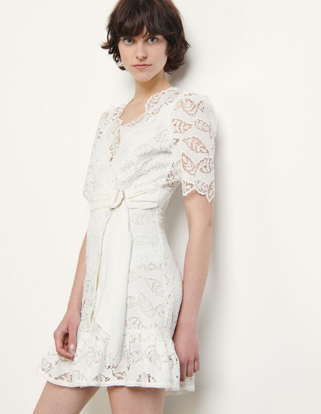 Short Broderie Anglaise Dress : Dresses color white