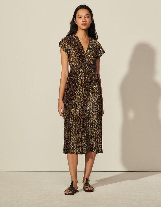Long Sleeveless Print Dress : Dresses color Black
