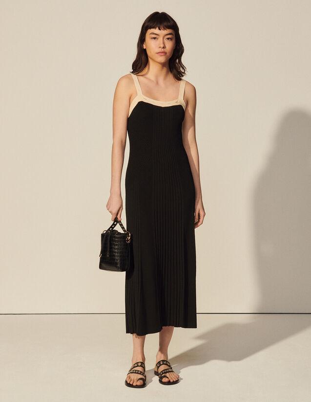 Long Two-Tone Knit Dress : Dresses color Black