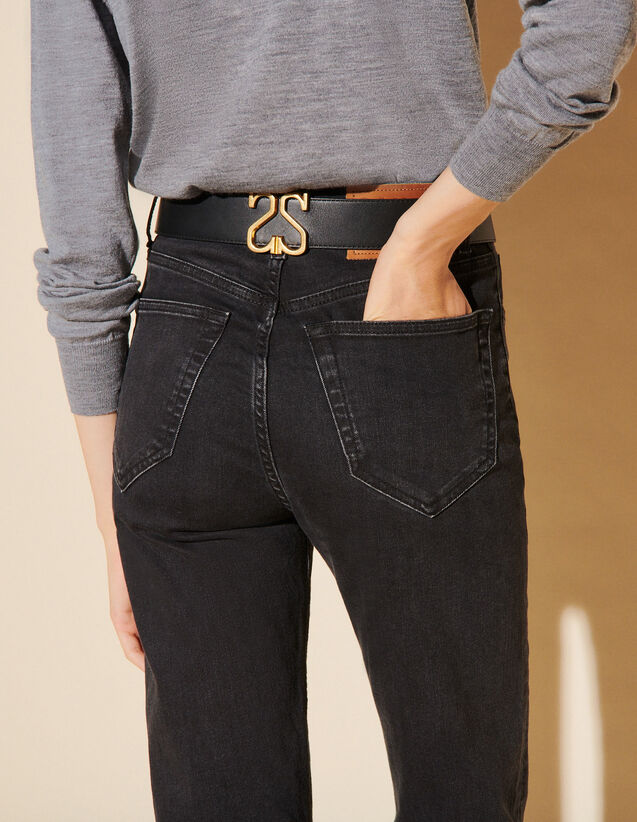 Leather Belt With Double S Logo : Belts color Black