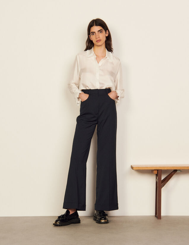 High-Waisted Trousers With Stripes : Pants color Navy Blue