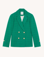 Tweed Double-Breasted Jacket : Blazer & Jacket color Emeuraude Green