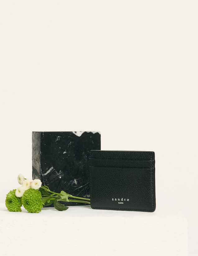 Grained Leather Card Holder : Leather Goods color Black