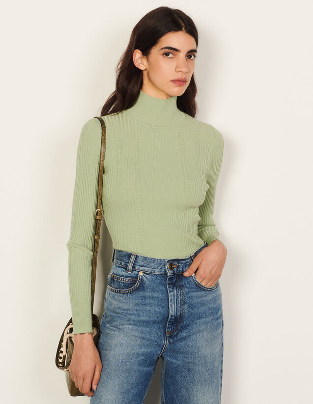 High-Neck Cable Knit Sweater : Sweaters & Cardigans color Vert Amande