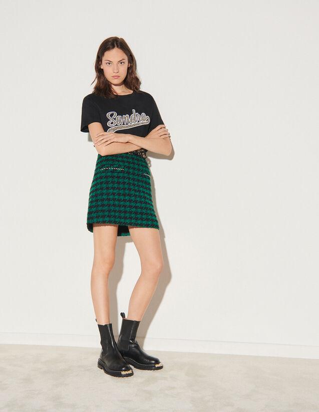 Short Tweed Skirt : Skirts & Shorts color Green / Black