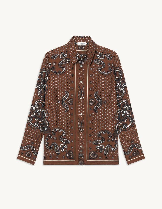 Printed Flowing Shirt : Shirts color Black Brown