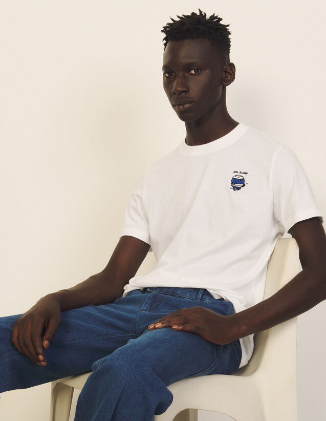 Cotton T-Shirt With Patch : T-shirts & Polo shirts color white