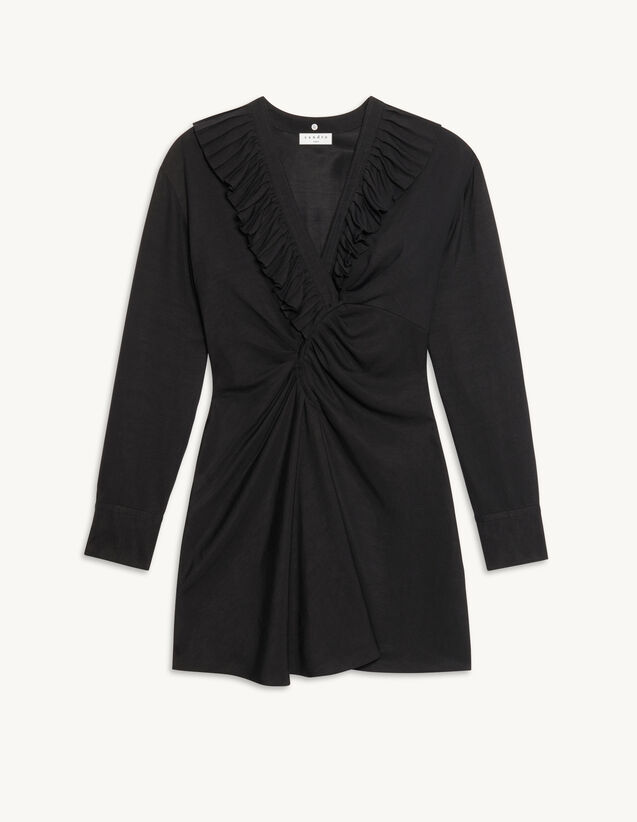Short Dress With Gathered Ruffles : Dresses color Black