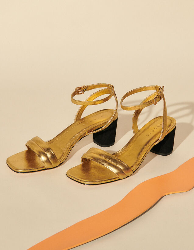 Gold Leather Sandal With Heel : Shoes color Gold