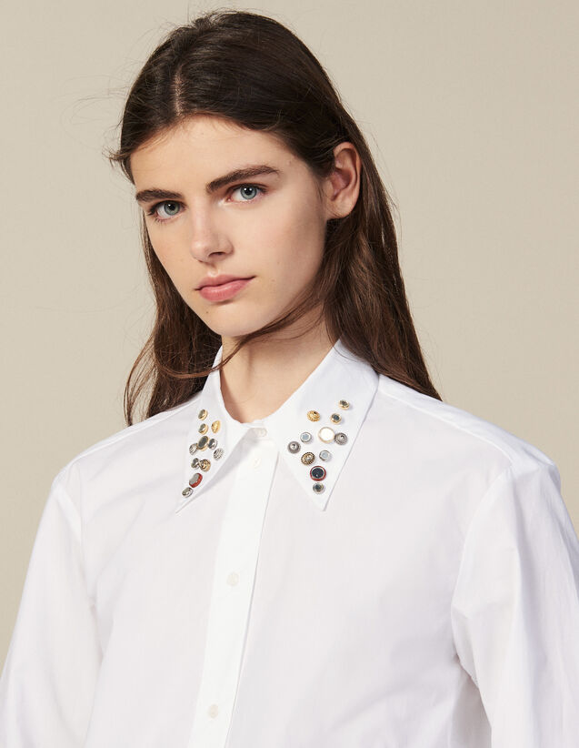 Asymmetric Shirt Trimmed With Studs : Shirts color white