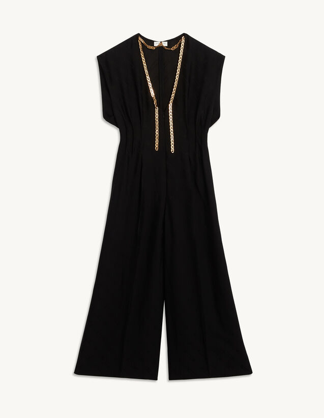 Jacquard Fabric Jumpsuit : Jumpsuits color Black