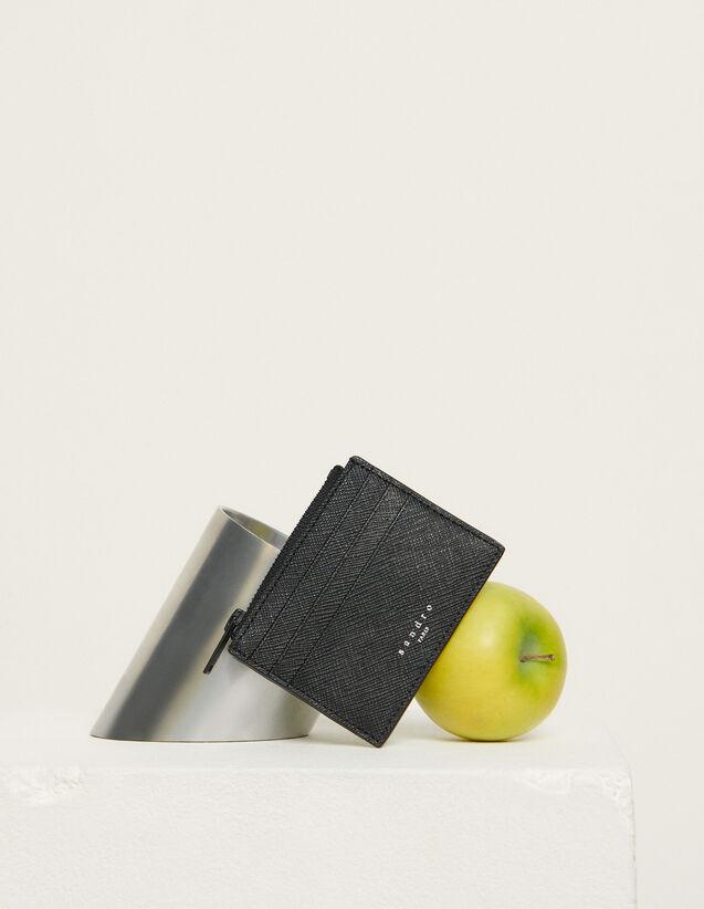 Saffiano Leather Zipper Card Holder : Leather Goods color Black