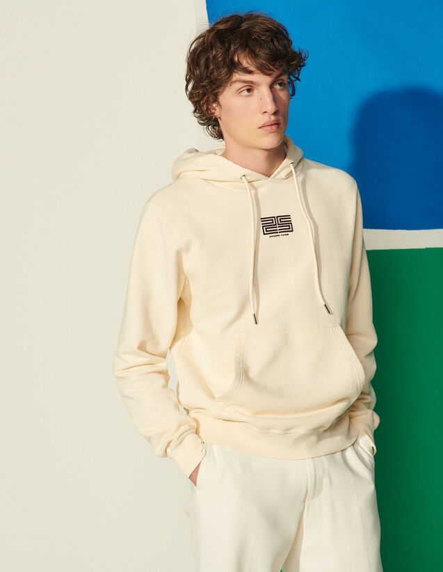 Organic Cotton Flocked Hoodie : Sweatshirts color Ecru