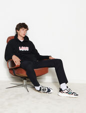 Hoodie With Embroidered Lettering : Sweatshirts color Black