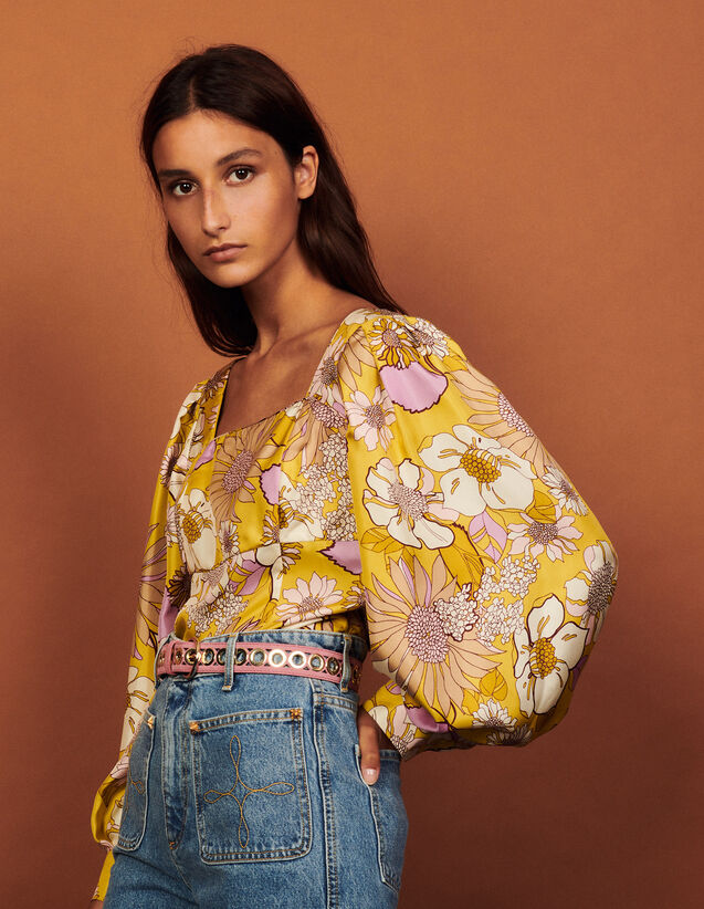 Printed Silk Top : Tops color Yellow / Lilac