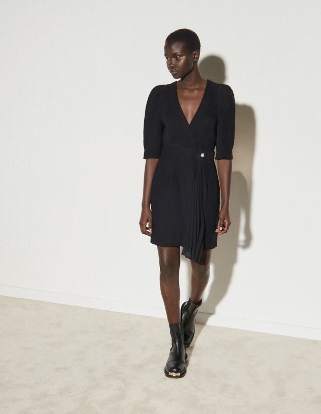 Short Wraparound Dress : Dresses color Black