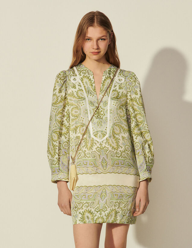 Scarf Print Dress : Dresses color Ecru / Pastel lilac