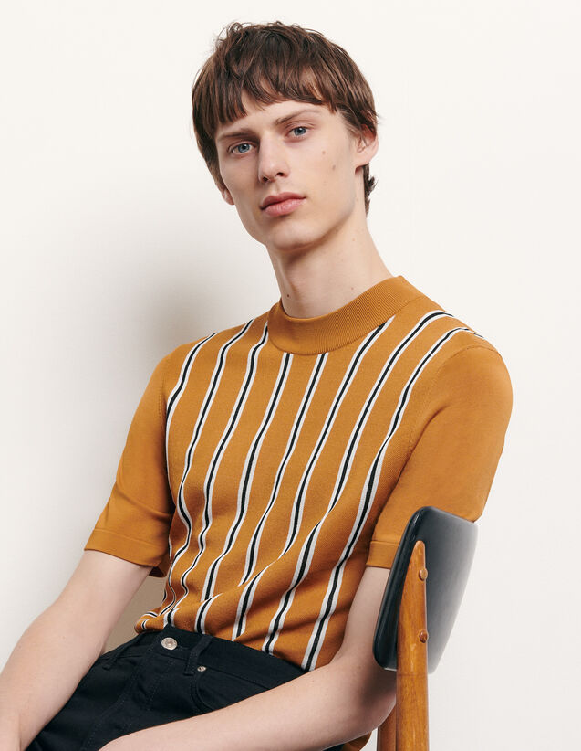 Striped Knit T-Shirt : T-shirts & Polo shirts color Camel