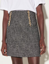 Short Tweed Skirt With Chain Trim : Skirts & Shorts color Black / White