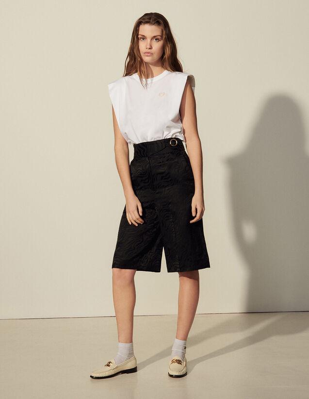 Jacquard Culottes : Pants color Black