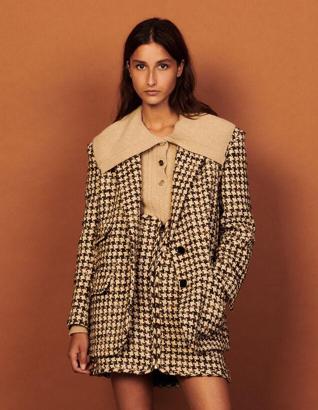 Houndstooth Suit Jacket : Blazer & Jacket color Brown - beige